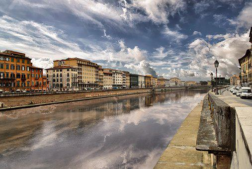 Pisa, River, Italy, City, Arno, Holidays, Clouds