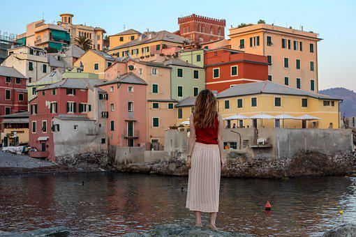 Girl, Colorful, Colourful Houses, Italy, Genoa, Beach