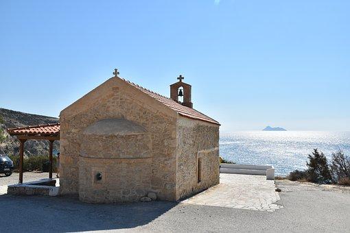 Church, Crete, Greece, Lake, Sea, Nature, Summer