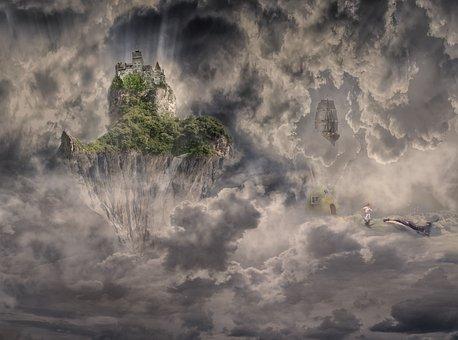 Fantasy, Floating Island, Sky, Island, Nature
