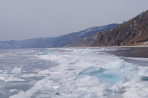 Baikal, Winter, Ice, Lake, Snow, Hummocks