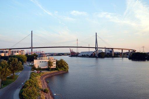 Köhlbrand Bridge, Hamburg, Water, Lake, Elbe, Bridge