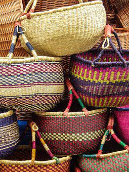 Market, Baskets, Woven, Decorative, Craft, Basket Ware