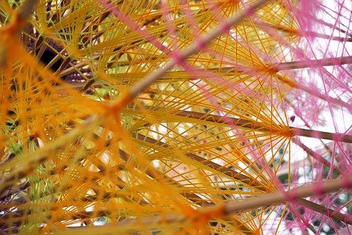 Threads, Colours, Decor, Umbrella, Wood, Design, Net