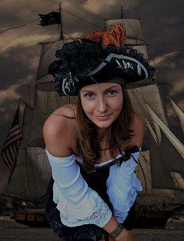 Pirate, Bride, Cog Ship, Predator, Composing, Woman