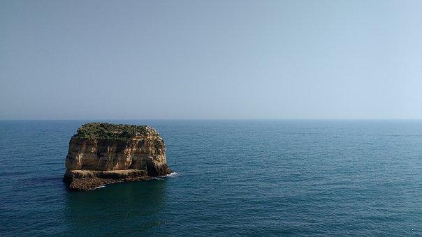 Portugal, Algarve, Rock, Sea, Blue, Sky, Island