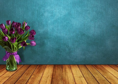 Tulips, Space, Wood, Vase, Wall, Flowers, Loop, Vintage