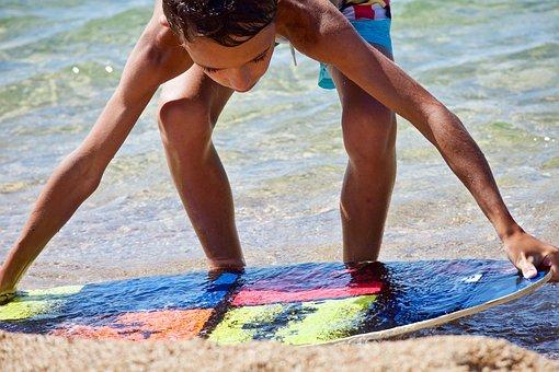 Beach, Beach Children, Surfing, Sea, Water, Sand, Sport