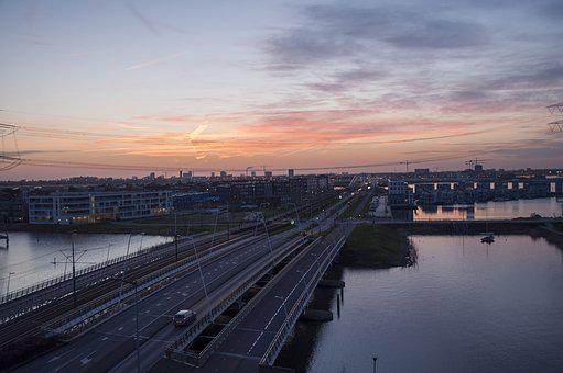 Sunset, Bridge, Amsterdam, Architecture, Water, City