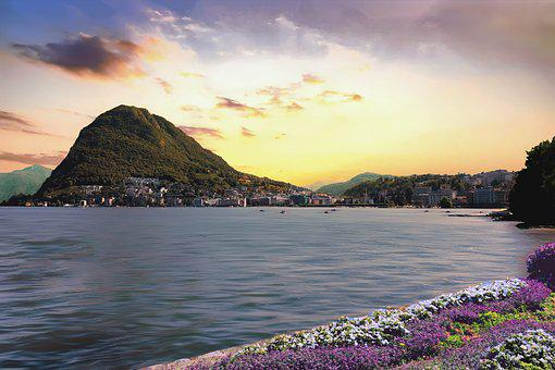 Lugano, Lake, Switzerland, Water, Mountains, Nature