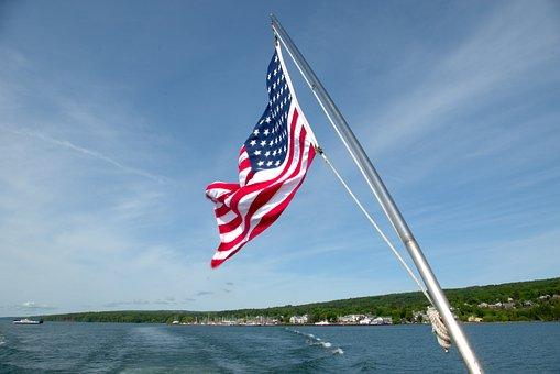 Tour Boat Us Flag, Tour, Boat, Usa, Wake, Lake Superior