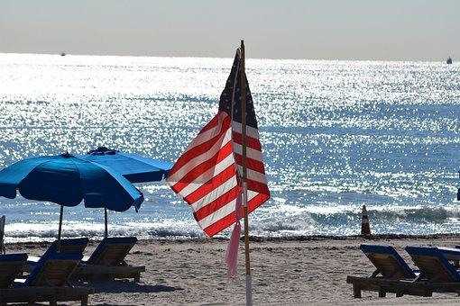 Flag, Ocean, Sea, Summer, Nature, Beach, Vacation, Blue