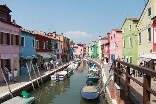 Burano, Venice, Homes, Colorful, Facade, Color, Summer