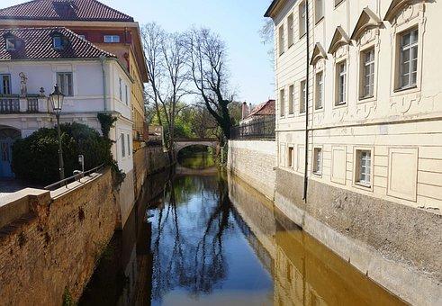 Channel, Island, Prague, Czechia, Water, House, Lamp