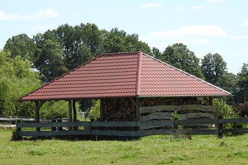 Woodshed, Bower, Roofing, Wood, Village