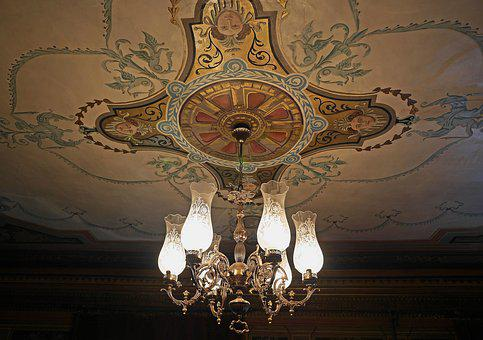 Salon, Cover Painting, Chandelier, Crystal Glass