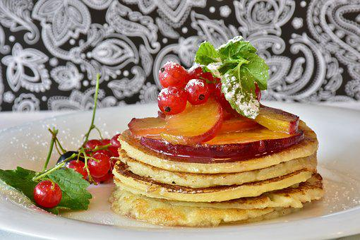 Pancake, Honey, Fruits, Apricots, Currants, Breakfast
