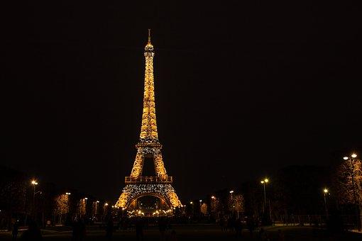 Paris, The Eiffel Tower, Evening, Flashing, Light