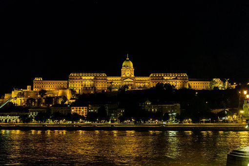 Buda, Castle, Buda Castle, At Night, Budapest, Hungary