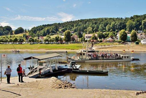 Historical, Shipping, Ferry, Kurort, Rathen, Saxon