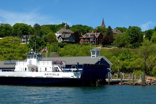 Ferry In Bayfield Harbor, Madeline Island Ferry Line