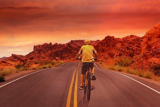 Bike, Sunset, Wheel, Man, Active, Landscape, Person