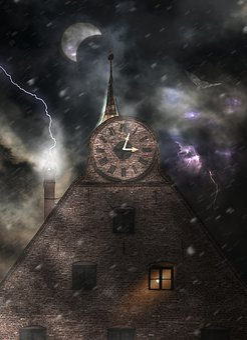 Night, Mystical, Dark, Weird, Facade, Flash, Moon