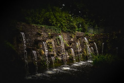 Fountains, Trick, Water, Tilt, Shift, Park, City