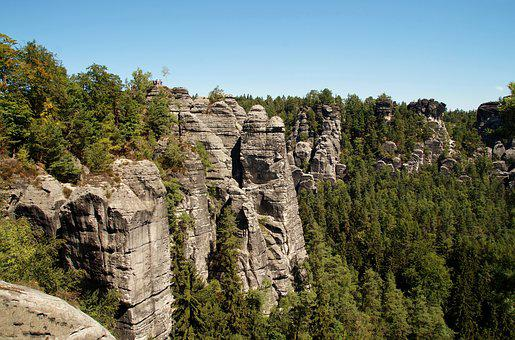 Sandstone, Rocks, Services, Tourism, Germany, Panorama