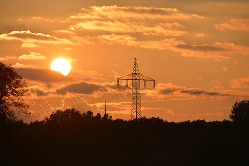 Sunset, Strommast, Sky, Power Line, Power Poles