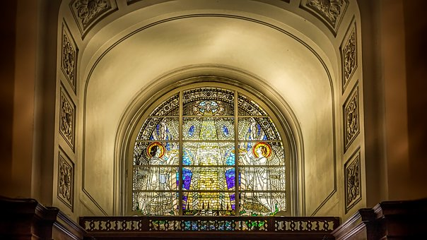 Hamburg, Michel, Church, Entrance, Stained, Glass