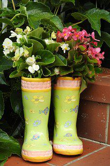 Rubber Boots, Begonias, Pot, Stairs, Ornament