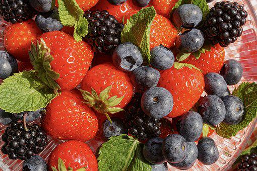 Fruits, Berries, Strawberries, Blueberries