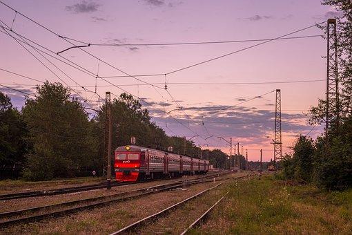 Elektrichka, Train, Station, Summer, Russia, Gatchina