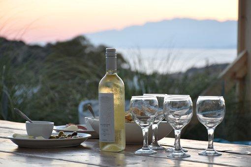 Summer, Aperitif, Sea View, Wine, Table, Terrace