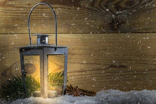 Lantern, Glow, Light, Snow, Snowflakes, Winter, Wood