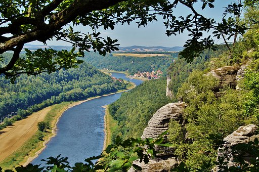 Sandstone, Rocks, Services, Germany, Elbe, Wooded, Bank