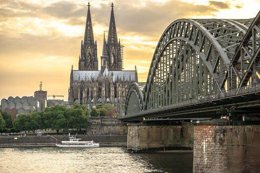 Köln, Bridge, Europe, Building, City, Sonnenuntergang