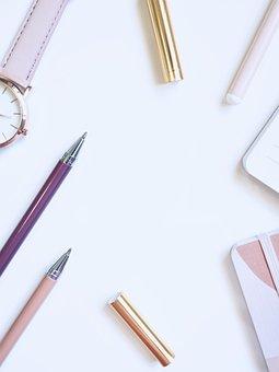 Write, White Space, Desktop, Flatlay, Business