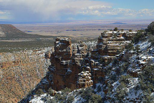 Snow, Canyon, Grand Canyon, Landscape, Nature
