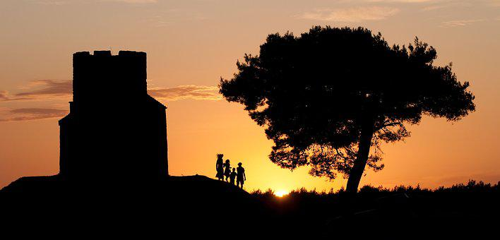 Family, Sunset, Croatia, Sun, Afterglow, Ruin, Tree