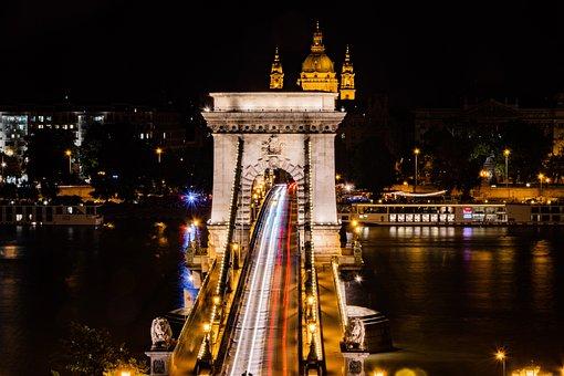 Chain Bridge, Budapest, Danube, Hungary, Bridge, Water