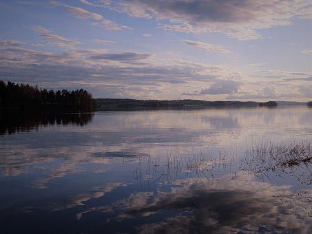 Lake, Sunset, Sky, Water, Landscape, Nature, Horizontal