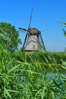 Mill, Kinderdijk, Netherlands, Holland, Landscape