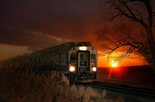 Train, Sun, Warm Colors, Light, Railway, Sunset