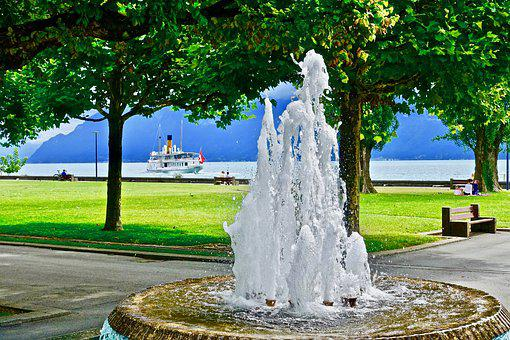 Fountain, Park, Paddle Steamer, Lake Geneva, Relaxing