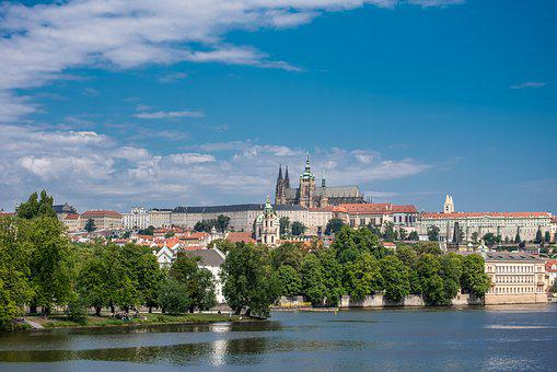 Prague, Prague Castle, River, Trees
