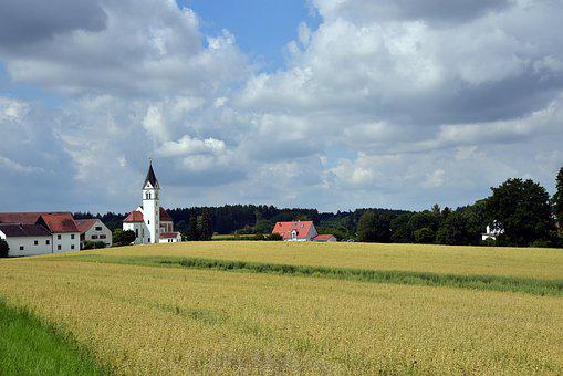 Village, Church, Small, Small Village, Rural, Idyllic
