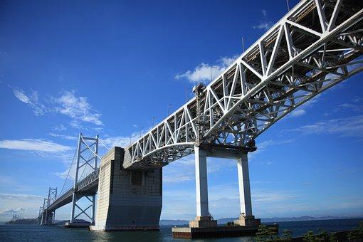 Blue Sky, Seto Ohashi Bridge, Bridge, Sky, Sea