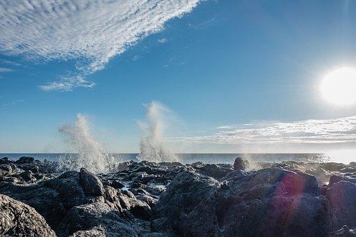 Wave, Sky, Sea, Rock